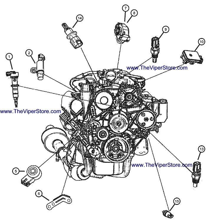 RAM SRT10 2004-2006 Factory Parts Diagrams Sensors Engine