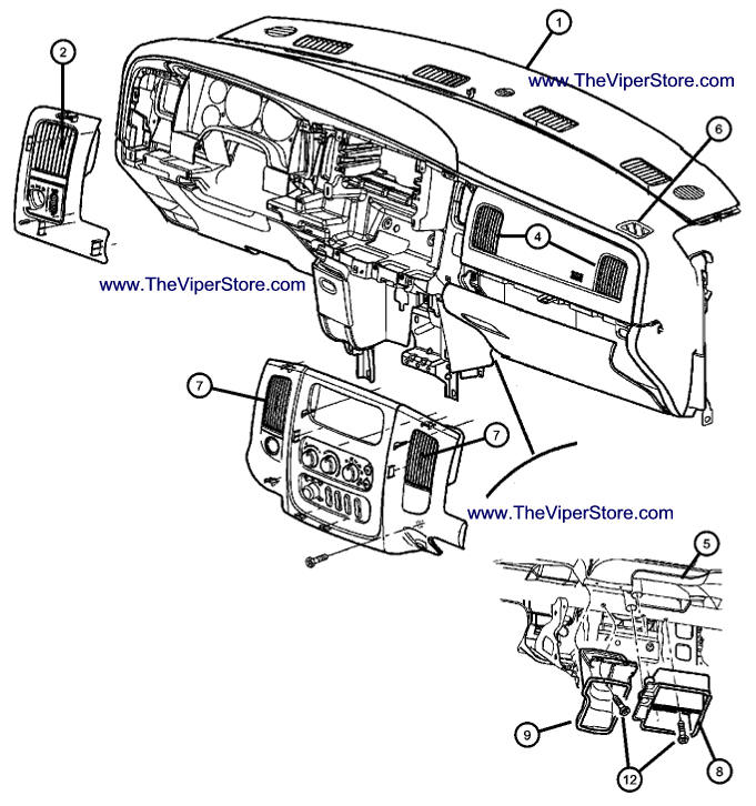 Jeep Grand Cherokee Srt10 >> RAM SRT10 2004-2006 Factory Parts Diagrams Interior Air Vents & Fascia
