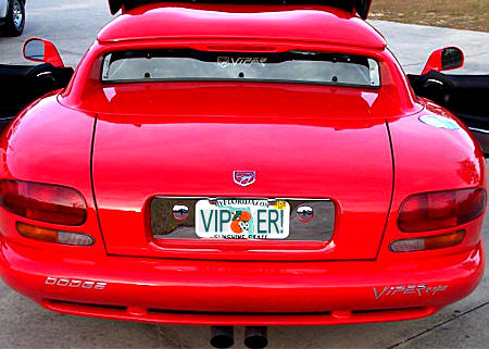 Personalized Front License Plates >> Dodge Viper license plate frame dress-up accessory