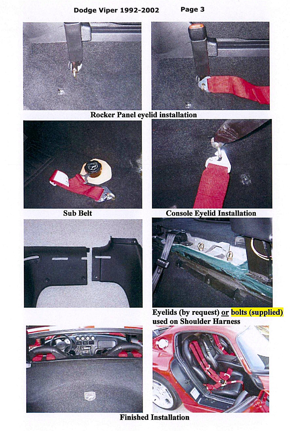 V2RHI51 dodge viper 5pt 6pt racing harness seat belt instructions Dodge Viper Truck at aneh.co